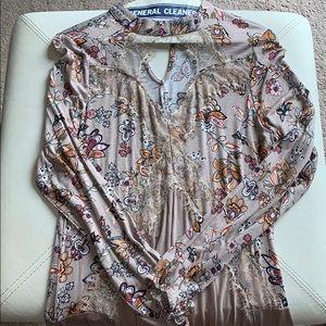 Long Sleeve Pattern Flowy Dress